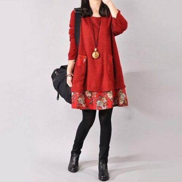 Red Sweater Dress NWT XXL